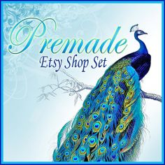 Premade Etsy Shop Banner Set  Pretty Peacocks  10 by CandyGraphics, $10.00