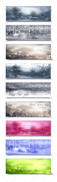 Christmas Banners #GraphicRiver Collection of 9 Merry Christmas vector blurred banners with bokeh effects and snowflakes. Files included: AiCS3 with non outlined text, EPS10, PSD with smart objects inside and JPG. Font name: ChopinScript. Font Source: .dafont /chopin-script.font Created: 6 December 13 Graphics Files Included: Photoshop PSD #JPG Image #Vector EPS #AI Illustrator Layered: No Minimum Adobe CS Version: CS Tags backdrop #background #banner #beauty #brochure #celebration…