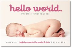 custom photo birth announcement  hello world by denadesign on Etsy, $16.00