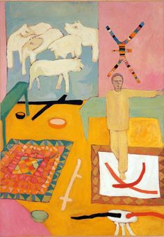 Mimmo Paladino (italien, né en 1948), Silenzioso, mi ritiro a dipingere un quadro, 1977. Huile sur toile