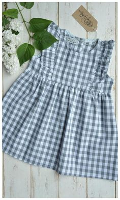 Gray&White Check Girls Dress with flutter sleeves #toddler #spring #affiliate
