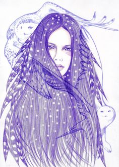 Delicately drawn women with wild animals Wolf Spirit, Spirit Animal, Coloring Sheets, Coloring Books, Andreas, Animal Totems, Art Studies, Bird, Wild Animals