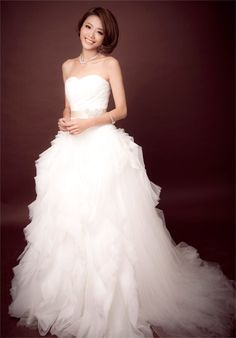 A-line Court Train Organza Ruffle Wedding Dress.