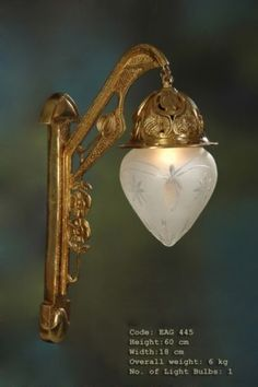 Sehr Schöne Alte Messing-Holz-Glas  Wandlampe  60 cm Hoch