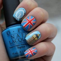 UK nails--that is much more dedication than I possess.spending that long such intricate nails. Uk Nails, Hair And Nails, Flag Nails, Sexy Nails, Patriotic Nails, Manicure, London Nails, The Beauty Department, Cool Nail Designs