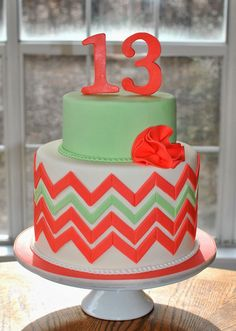 Hope's Sweet Cakes: Chevron Cake (change the 13 to a 15 and I'll be good! 13th Birthday Cake For Girls, 13 Birthday Cake, Birthday Ideas, 11th Birthday, Teen Cakes, Girl Cakes, Beautiful Cakes, Amazing Cakes, Cake Cookies