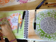 Teachable Moments: art journaling.  This is a blog by a homeschooler who does art journaling classes for her co-op.   Lots of art journaling ideas.