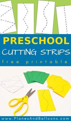 Scissor skills preschool free printable cutting practice worksheets. Fine motor skills activities. #prek #preschool