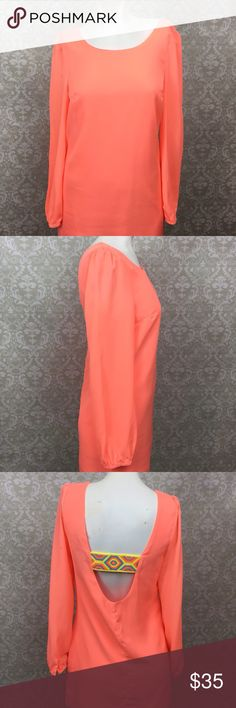 🍁Very J Neon Orange Cut-out Back Boho Dress Very J Neon Orange Cut-out Back Long Sleeve Boho Dress Womens Small  This has been gently worn with no major flaws.  Please refer to photos for more details. Very J Dresses Long Sleeve