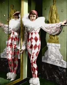 Tonight is Ours - Claudette Colbert as Princess Nadya wearing a sequined Pierrot costume with huge diamanté tulle ruffled collar and chiffon sleeves. The costumes were designed by Travis Banton. Circus Vintage, Vintage Circus Costume, Vintage Costumes, Vintage Outfits, Vintage Burlesque, Pierrot Costume, Pierrot Clown, Royal Ballet, Cool Costumes