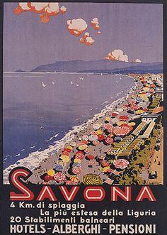 ITALY SAVONA BEACH UMBRELLAS RIVIERA TRAVEL  VINTAGE POSTER #riviera #essenzadiriviera
