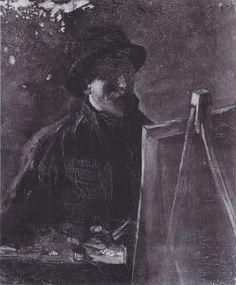 Van Gogh - Selbstbildnis mit Filzhut vor der Staffelei, 1886
