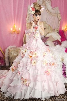 Bridal Pink - pink wedding dress; tiered chiffon ruffled skirt; floral embellishments