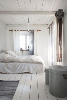 Restored Farmhouse in Skåne - Kate Young Design - Wonderful white bedroom in this simple, rustic and beautiful farmhouse in Sweeden. I want those vintage chairs in the dining room! Bedroom Green, White Bedroom, Cosy House, Shabby Bedroom, Hm Home, Rustic Cottage, Shabby Cottage, Shabby Chic, Woman Bedroom