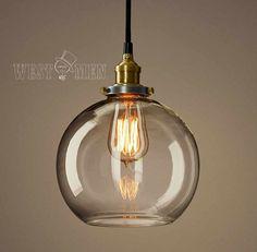Retro Glass Ball Pendant Lamp Vintage Open door HandmadeLampWorks, $58.00