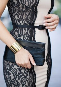black lace detailing on nude dress + belt + bag + gold cuff