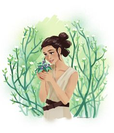 """""""I didn't know there was this much green in the whole galaxy"""" Rey fanart by dis4daria"""