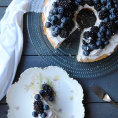 Angel Food Cake with Violet & Blueberry Cream — The Cookery Wife