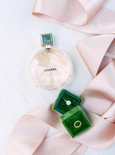 Emerald The Mrs. Box cushion cut diamond ring and Chanel perfume: http://www.stylemepretty.com/2016/10/10/multicultural-catholic-buddhist-wedding/ Photography: Jill Dillender - http://jendillenderphotography.com/wp1/
