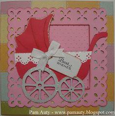 Pink Pram Best Wishes Card. Baby girl. Using Cricut Elegant Edges and Paper Dolls cartridges