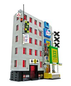 Magma guy created several futuristic buildings. The buildings, set in an Asian city, are filled with numerous signs and other great facade details.
