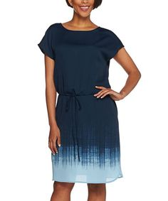 Another great find on #zulily! Blue Ombré Tie-Waist Sheath Dress - Plus Too #zulilyfinds