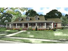 Single Story Farmhouse with Wrap around Porch | ... Square ...