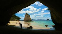 the full pictire, cave and rock Cathedral Cove, Hahei, New Zealand.