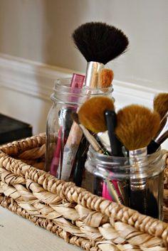 The Painted Home: { DIY jewelry tree & my vanity } Cheap Mason Jars, Mason Jar Crafts, Diy Jars, Makeup Storage Organization, Storage Organizers, Make Up Storage, Storage Jars, Tool Storage, Storage Ideas