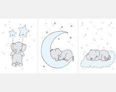 Elephant Printable Nursery Wall Set,Printable Nursery,Elephant Children's Art,Blue Nursery,Blue Decor,Elephant Boys Nursery,Elephant Baby