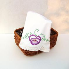 Vintage Embroidered Pillowcases Purple Pillow Cases by #WhimzyThyme #etsy #tvteam #virtuosoetsy