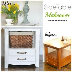 DIY:: So Easy ! Beautiful Just Over Dollars Chic High end Side Table Makeover ! (Looks exactly like the ones in the Spring Pottery Barn Catalog that are 5 times the cost ! Recycled Furniture, Furniture Projects, Furniture Makeover, Home Projects, Painted Furniture, Diy Furniture, Dresser Makeovers, Outdoor Furniture, Rustic Furniture