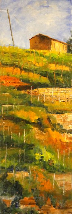 "For Sale: Autumn Vineyard, Tuscany by Marin Dobson | $250 | 10""w x 30""h 