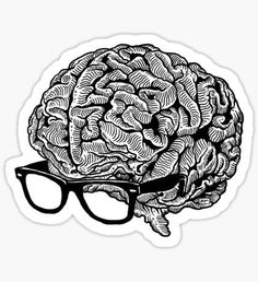 'Brain with Glasses' Sticker by ZugArt Stickers Kawaii, Laptop Stickers, Cute Stickers, Brain Tattoo, Brain Art, Homemade Stickers, Bullet Journal Ideas Pages, Good Notes, Aesthetic Stickers