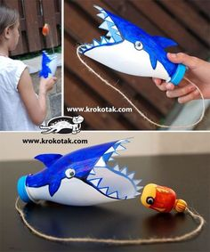 recycled bottle shark diy game for kids