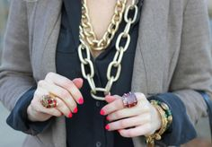 chunky necklaces, neon nails