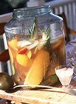 Avery Island Punch - triple sec, o.j., cranberry juice, pineapples, oranges, limes,apples, sparkling white wine