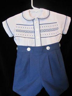 Eva's Smocking - Eva Garlick - Picasa Web Albums Boys Dress Clothes, Smocked Baby Clothes, Cute Baby Clothes, Baby Boy Suit, Baby Boy Dress, Toddler Outfits, Baby Boy Outfits, Kids Outfits, Smocks