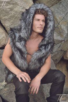 Fenrir Gray/ black Faux Fur Vest with hood.  Horns add 15.  Unisex.
