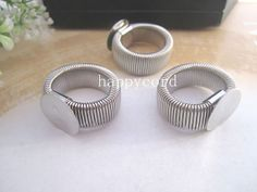 10pcs of retractable Silver Plated Ring Blanks ring by happycord, $5.49