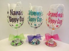 Grandma's sippy cup - Mommy's sippy cup - Personalized wine glass - extra large sized - great shower gift, $12.00