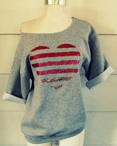 DIY Striped Glitter Heart Sweatshirt Restyle Tutorial from...