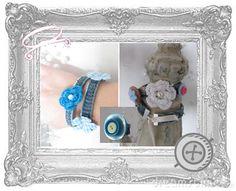 Armbanden gemaakt van kleding, te koop of zelfmaken tijdens een Creatieve recycle workshop.