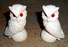 Vintage Figurine White Owls Alabaster Owl Figurine by TheBackShak, $23.00