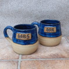 Pair Of Mr And Mrs Cuddle Mugs Coffee Tea Cups In Stoneware Hand Thrown by Caractacus Pots on Gourmly