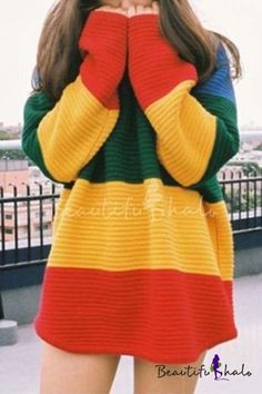 Gradient pull en tricot femmes Long pull Casual Oversize moelleux pull femme pull hiver pulls 2015 vê Loose Sweater, Long Sleeve Sweater, Blusas Oversized, Oversized Sweaters, Casual Sweaters, Long Sweaters, Rainbow Sweater, Dresses For Less, Stripes Fashion