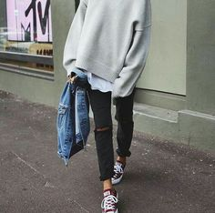 black jeans, denim jacket, converse all star and sweater