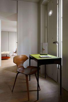 Pierre Saalburg - Rue Drouot, Paris, desk, details, vintage chair, shutters