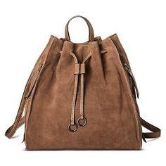 Women's Modern Suede Backpack Handbag - Cognac