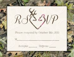 camo deer hearts wedding invitation and rsvp cardmrsprint, invitation samples